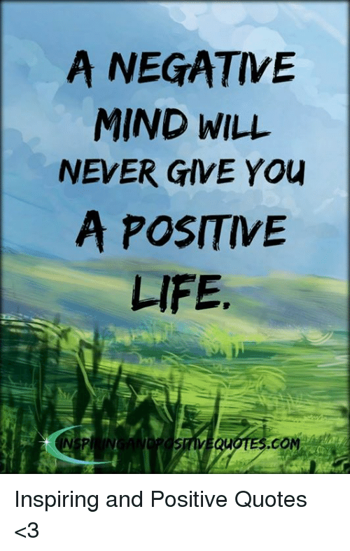 A Negative Mind Will Never Give You A Positive Life Uotescom