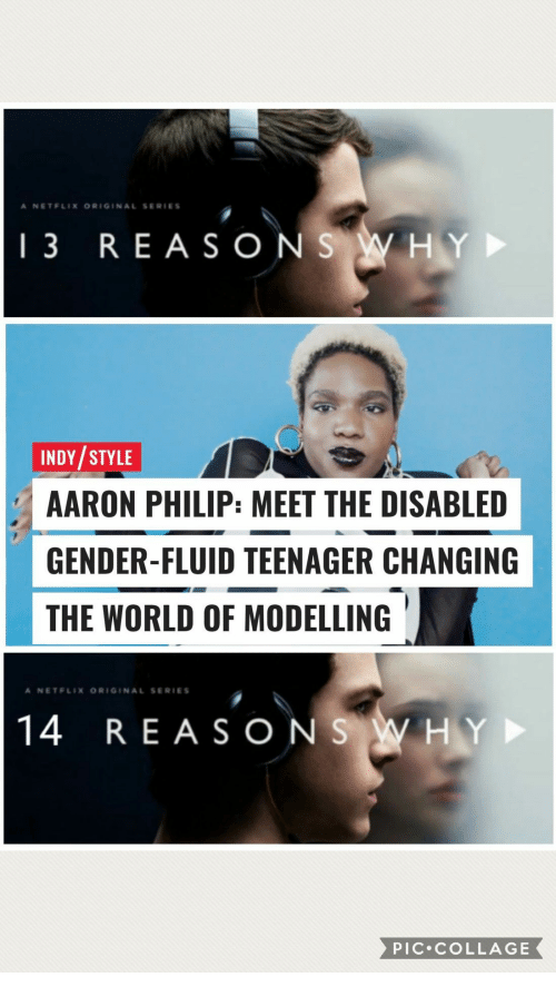 Collage, World, and Gender: A NETELIX ORIGINAL SERIES  13 REA SONS WHY  INDY/STYLE  AARON PHILIP: MEET THE DISABLED  GENDER-FLUID TEENAGER CHANGING  THE WORLD OF MODELLING  A NETELIX ORIGINAL SERIES  14 REASONS WHY  PIC COLLAGE