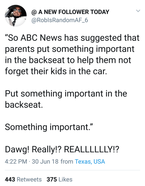 """Abc, News, and Parents: @ A NEW FOLLOWER TODAY  @RoblsRandomAF_6  """"So ABC News has suggested that  parents put something important  in the backseat to help them not  forget their kids in the car.  Put something important in the  backseat.  Something important.""""  Dawg! Really!? REALLLLLLY!?  4:22 PM · 30 Jun 18 from Texas, USA  443 Retweets 375 Likes"""