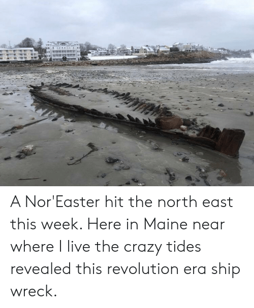 Crazy, Live, and Maine: A Nor'Easter hit the north east this week. Here in Maine near where I live the crazy tides revealed this revolution era ship wreck.