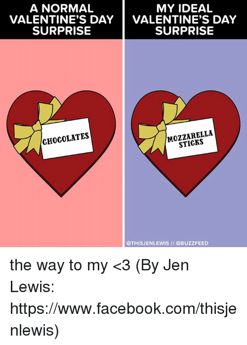 Memes, 🤖, and Lewis: A NORMAL  MY IDEAL  VALENTINE'S DAY  VALENTINE'S DAY  SURPRISE  SURPRISE  MOZZARELLA  CHOCOLATES  @THIS JENLEWIS @BUZZFEED the way to my <3 (By Jen Lewis: https://www.facebook.com/thisjenlewis)