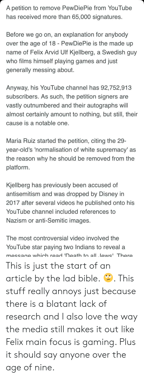 A Petition to Remove PewDiePie From YouTube Has Received