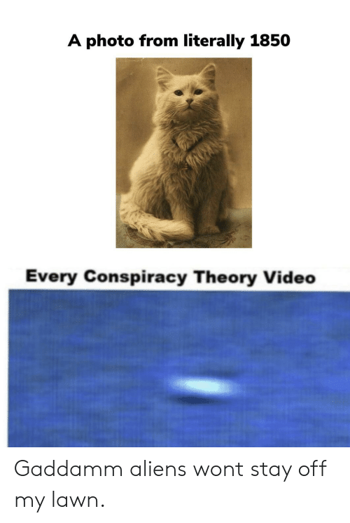 Aliens, Video, and Conspiracy: A photo from literally 1850  Every Conspiracy Theory Video Gaddamm aliens wont stay off my lawn.