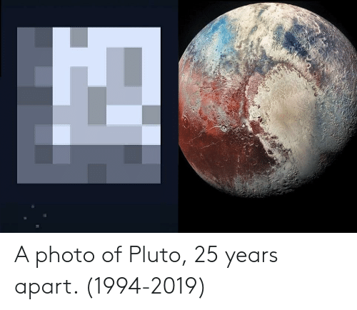 Pluto, 25 Years, and Photo: A photo of Pluto, 25 years apart. (1994-2019)