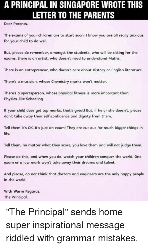 A PRINCIPAL IN SINGAPORE WROTE THIS LETTER TO THE PARENTS