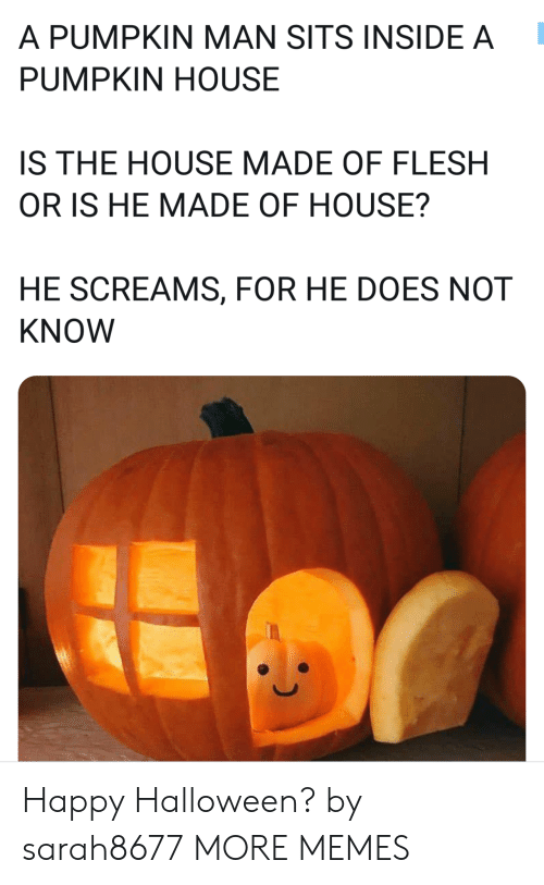 Dank, Halloween, and Memes: A PUMPKIN MAN SITS INSIDE A  PUMPKIN HOUSE  IS THE HOUSE MADE OF FLESH  OR IS HE MADE OF HOUSE?  HE SCREAMS, FOR HE DOES NOT  KNOW Happy Halloween? by sarah8677 MORE MEMES