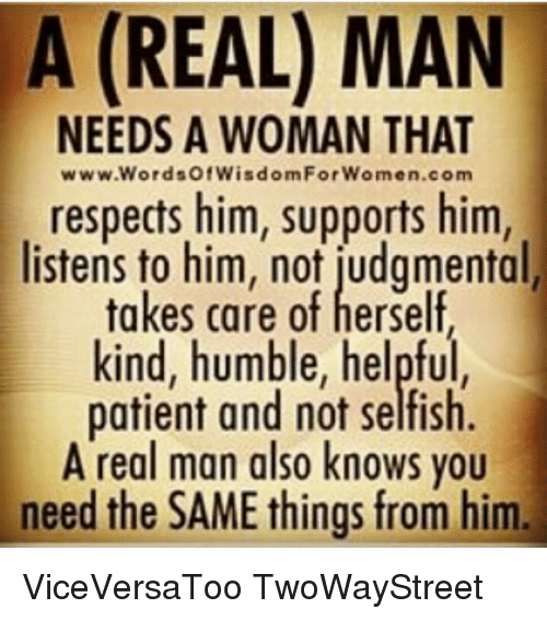 What a man need in a woman