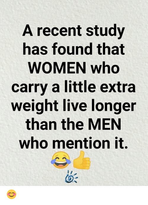 Memes, Live, and Women: A recent study  has found that  WOMEN who  carry a little extra  weight live longer  than the MEN  who mention it. 😊