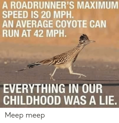 Run, Coyote, and Speed: A ROADRUNNER'S MAXIMUM  SPEED IS 20 MPH.  AN AVERAGE COYOTE CAN  RUN AT 42 MPH.  EVERYTHING IN OUR  CHILDHOOD WAS A LIE. Meep meep