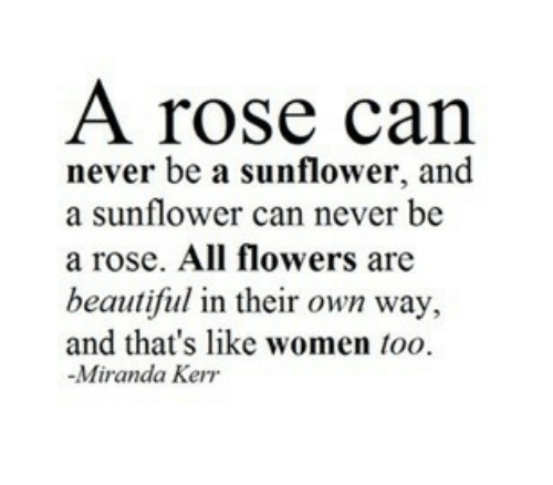 Beautiful, Flowers, and Rose: A rose can  never be a sunflower, and  a sunflower can never be  a rose. All flowers are  beautiful in their own way,  and that's like women too  -Miranda Kerr
