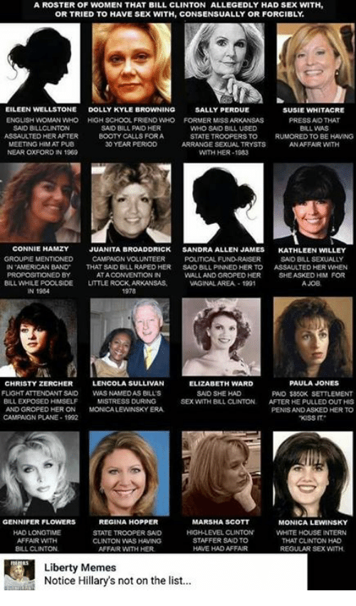 Bill Clinton, Booty, and Ed, Edd N Eddy: A ROSTER OF WOMEN THAT BILL CLINTON ALLEGEDLY HAD SEX WITH,  OR TRIED TO HAVE SEX WITH, CONSENSUALLY OR FORCIBLY  EILEEN WELLSTONE  DOLLY KYLE B  NG  SALLY PERDUE  SUSIE WHITACRE  ENGLISH WOMAN WHO HIGH SCHOOL FRIEND WHO FORMER MSS ARKANSAS  PRESS AND THAT  SAID BILLCLINTON  SAID BILL PAD HER  WHO SAID BILL USED  BILL WAS  ASSAULTED HERAFTER  BOOTY CALLS FORA  STATE TROOPERS TO  D TO BE HAVING  MEETING HIM AT PUB  30 YEAR PERIOD  ARRANGE SEXUAL TRYSTS  AN AFFAIR WITH  NEAR OXFORD IN 1969  WITH HER-1983  CONNIE  HAMZY  JUANITA BROADDRICK  SANDRA ALLEN JAMES  KATHLEEN WILLEY  GROUPE MENTIONED  CAMPAIGN VOLUNTEER  POLITICAL FUND RAISER  SAID BILL SEXUAL  AMERICAN BAND  THAT SAD BILL RAPEDHER  SAID BILL PINNED HER TO  ASSAUTED HER WHEN  ED BY  ATA  WALL AND GROPED HER  SHE ASKED HIM FOR  BILL WHILEPOOLSIDE  LITTLE ROCK, ARKANSAS.  VAGINALAREA.-1991  A JOB  1978  LENCOLA SULLIVAN  PAULA JONES  CHRISTY ZERCHER  ELIZABETH WARD  FLIGHT ATTENDANT SAID  WASNAMEDAS BILLS  SAID SHE HAD  PAID $850K SETTLEMENT  BILL EXPOSED HIMSELF  MISTRESS DURING  SEX WITH BILL CLINTON.  AFTER HE PULLED OUT HIS  AND GROPED HERON  MONCALEWINSKYERA.  PENISANDASKED HER TO  CAMPAGN PLANE 1992  KISS IT  REGINA HOPPER  GENNIFER FLOWERS  MARSHA SCOTT  MONICA LEWINSKY  HAD LONGTIME  HIGH LEVEL CLINTON  WHITE HOUSE INTERN  STATE TROOPER SAD  AFFAIR WITH  STAFFER SAID TO  THAT CUNTON HAD  CLINTON WAS HAMING  BILL CLINTON  AFFAIR WITH HER  HAVE HAD AFFAIR  REGULAR SEX WITH  Liberty Memes  Notice Hillary's not on the list...