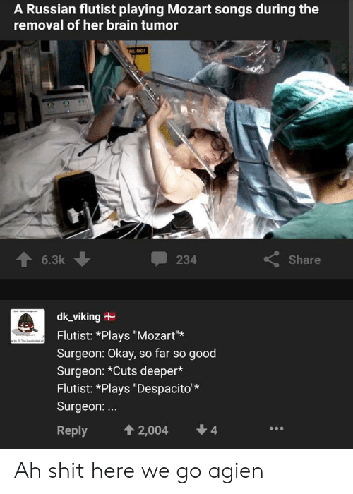 """Brain, Good, and Mozart: A Russian flutist playing Mozart songs during the  removal of her brain tumor  NL NG  6.3k  Share  234  dk_viking  Flutist: *Plays """"Mozart""""  The y  Surgeon: Okay, so far so good  Surgeon: *Cuts deeper*  Flutist: *Plays """"Despacito*  Surgeon:...  4  4 2,004  Reply Ah shit here we go agien"""