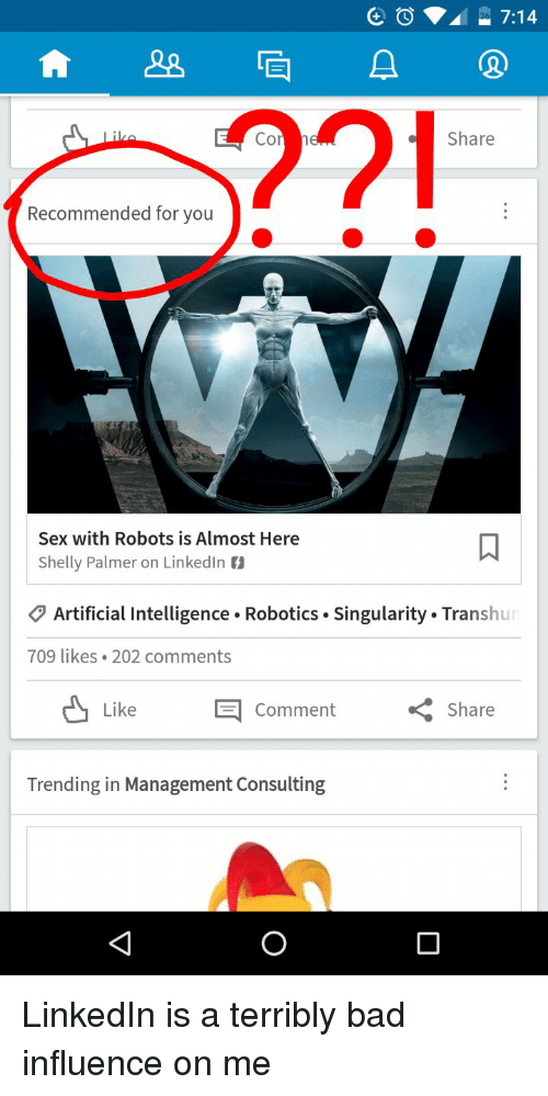 Funny Linkedin And Artificial A Share Recommended For You With Robots Is
