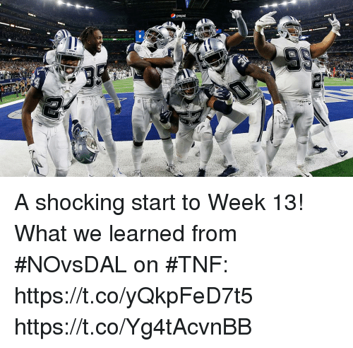 Memes, 🤖, and What: A shocking start to Week 13!   What we learned from #NOvsDAL on #TNF: https://t.co/yQkpFeD7t5 https://t.co/Yg4tAcvnBB