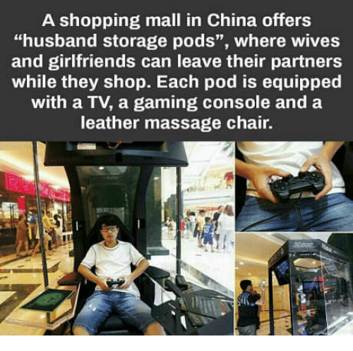 A Shopping Mall in China Offers Husband Storage Pods Where