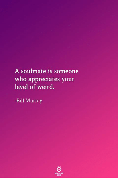 Weird, Bill Murray, and Who: A soulmate is someone  who appreciates your  level of weird.  -Bill Murray