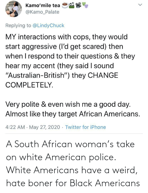 Police, Weird, and American: A South African woman's take on white American police. White Americans have a weird, hate boner for Black Americans