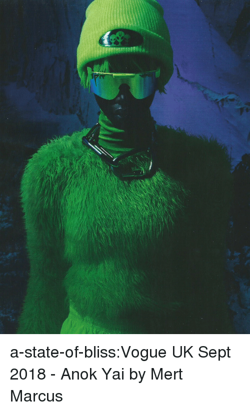 Tumblr, Blog, and Http: a-state-of-bliss:Vogue UK Sept 2018 - Anok Yai by Mert  Marcus