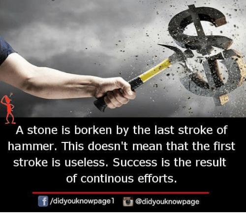 Memes, Mean, and Success: A stone is borken by the last stroke of  hammer. This doesn't mean that the first  stroke is useless. Success is the result  of continous efforts.  f/didyouknowpagel @didyouknowpage