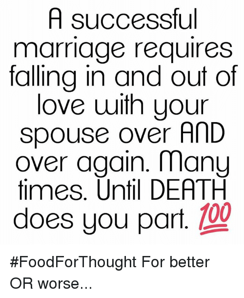 Memes, 🤖, and Manu: A successful  marriage requires  falling in and out of  love with your  spouse over AnD  over again. manu  times. Until DEATH  does you part  109 #FoodForThought For better OR worse...