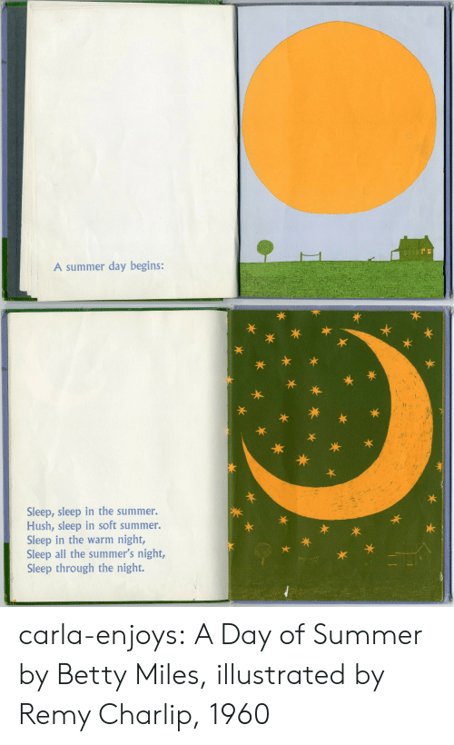 Target, Tumblr, and Summer: A summer day begins:   te  Sleep, sleep in the summer.  Hush, sleep in soft summer.  Sleep in the warm night,  Sleep all the summer's night,  Sleep through the night.  永  木* carla-enjoys: A Day of Summer by Betty Miles, illustrated by Remy Charlip, 1960