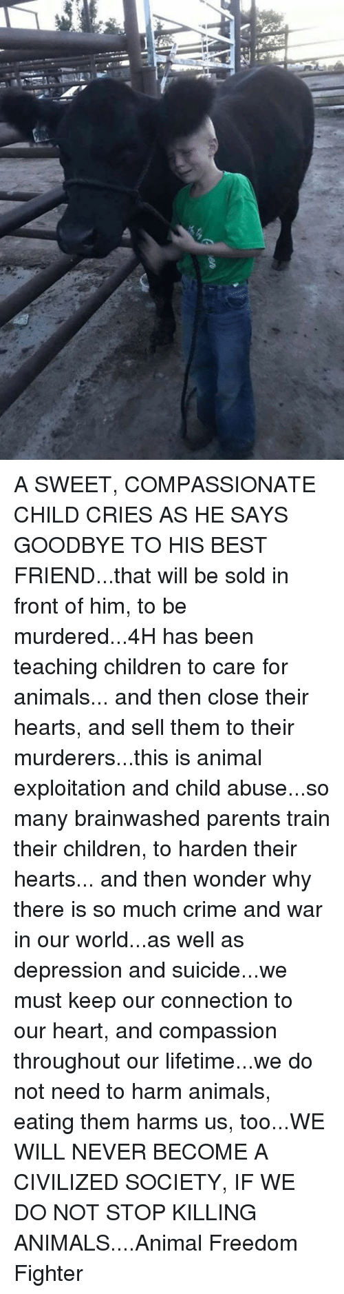 Animals, Best Friend, and Children: A SWEET, COMPASSIONATE CHILD CRIES AS HE SAYS GOODBYE TO HIS BEST FRIEND...that will be sold in front of him, to be murdered...4H has been teaching children to care for animals... and then close their hearts, and sell them to their murderers...this is animal exploitation and child abuse...so many brainwashed parents train their children, to harden their hearts... and then wonder why there is so much crime and war in our world...as well as depression and suicide...we must keep our connection to our heart, and compassion throughout our lifetime...we do not need to harm animals, eating them harms us, too...WE WILL NEVER BECOME A CIVILIZED SOCIETY, IF WE DO NOT STOP KILLING ANIMALS....Animal Freedom Fighter