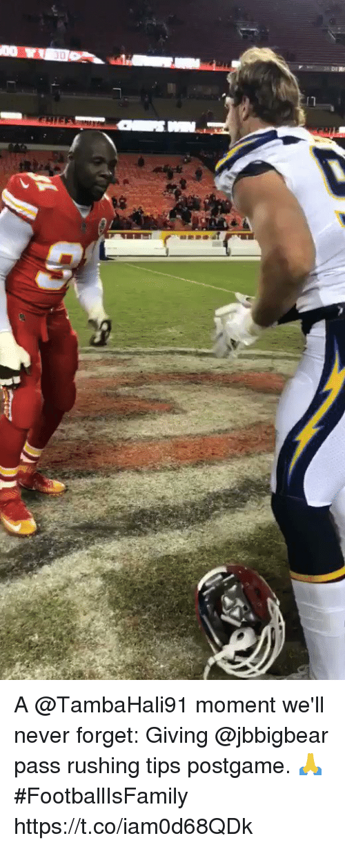 Memes, Never, and 🤖: A @TambaHali91 moment we'll never forget: Giving @jbbigbear pass rushing tips postgame. 🙏 #FootballIsFamily https://t.co/iam0d68QDk