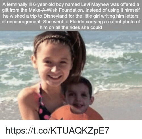 A Terminally Ill 6 Year Old Boy Named Levi Mayhew Was Offered A Gift
