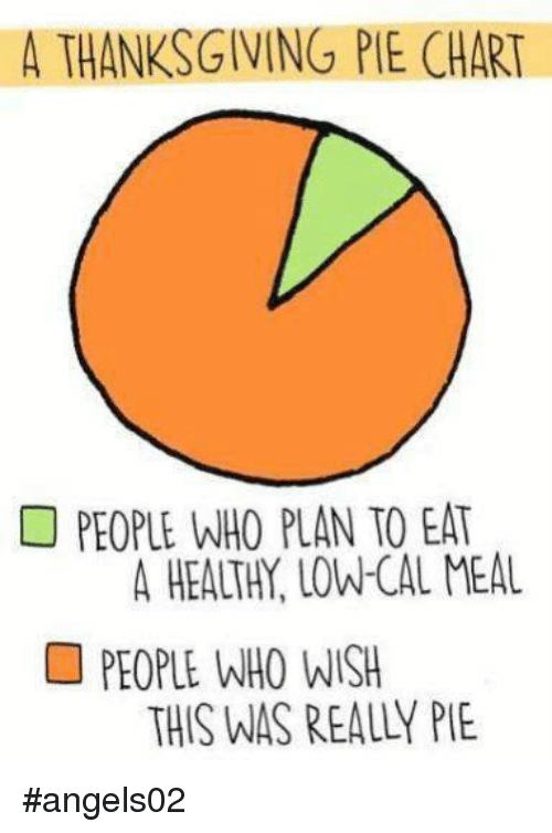A Thanksgiving Pie Chart People Who Plan To Eat People Who Wish This