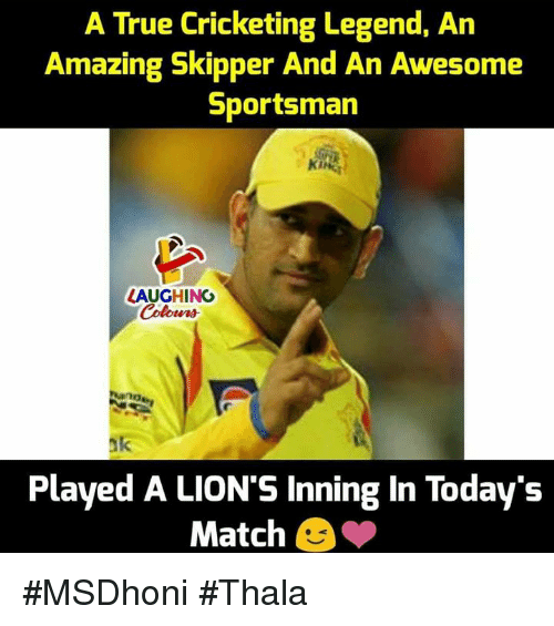 True, Lions, and Match: A True Cricketing Legend, An  Amazing Skipper And An Awesome  Sportsman  KING  LAUGHING  ak  Played A LION'S Inning In Today's  Match #MSDhoni #Thala