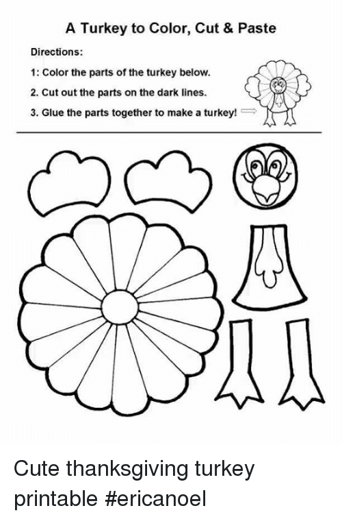 A Turkey To Color Cut Paste Directions 1 Color The Parts Of The