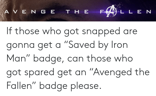 "Iron Man, E.T., and Got: A V E N G E T H E  L L E N If those who got snapped are gonna get a ""Saved by Iron Man"" badge, can those who got spared get an ""Avenged the Fallen"" badge please."