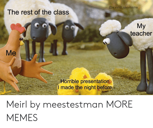 Dank, Memes, and Target: @a.valid_username  The rest of the class  My  teacher  Me  Horrible presentation  I made the night before Meirl by meestestman MORE MEMES