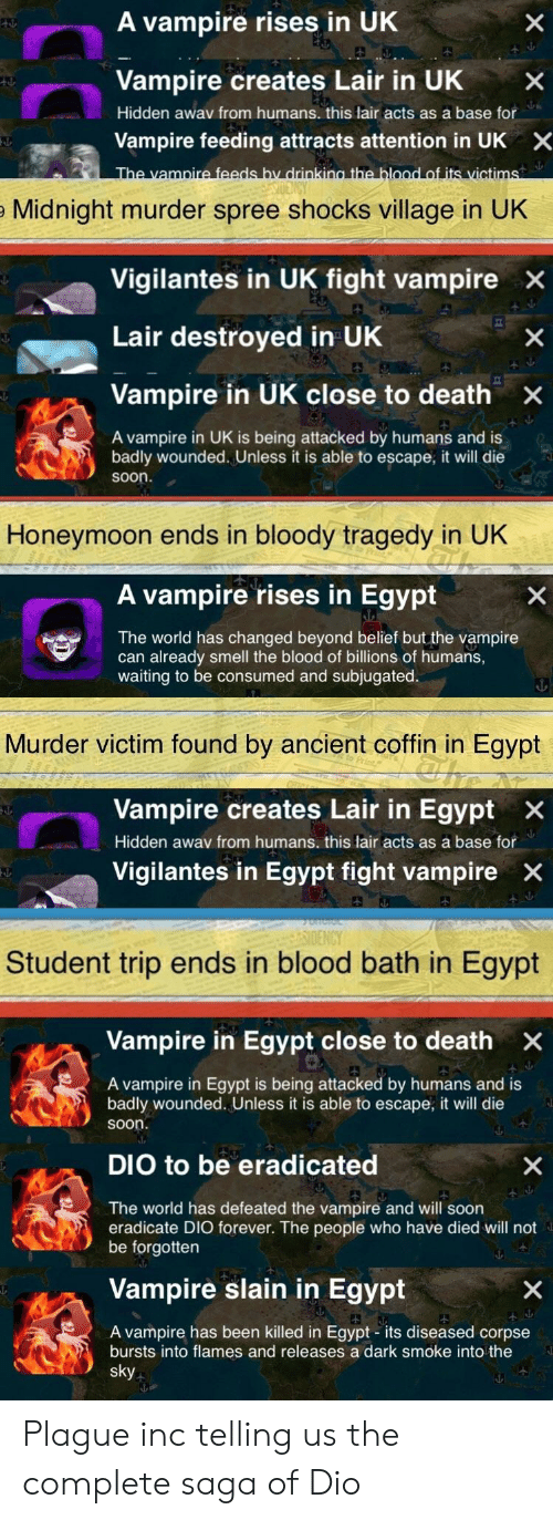 Honeymoon, Smell, and Soon...: A vampire rises in UK  Vampire creates Lair in UKX  Hidden awav from humans. this lair acts as a base for  Vampire feeding attracts attention in UK  X  Midnight murder spree shocks village in UK  Vigilantes in UK fight vampire x  Lair destroyed in UhK  Vampire in UK close to death ×  A vampire in UK is being attacked by humans and is  badly wounded. Unless it is able to escape, it will die  soon.  Honeymoon ends in bloody tragedy in UK  A vampire rises in Egypt  The world has changed beyond belief but the vampire  can already smell the blood of billions of humans,  waiting to be consumed and subjugated.  Murder victim found by ancient coffin in Egypt  Vampire creates Lair in Egypt x  Hidden awav from humans. this lair acts as a base for  Vigilantes in Egypt fight vampire  X  Student trip ends in blood bath in Egypt  Vampire in Egypt close to death  A vampire in Egypt is being attacked by humans and is  badly wounded. Unless it is able to escape, it will die  soon  DIO to be eradicated  The world has defeated the vampire and will soon  eradicate DIO forever. The people who have died will not  be forgotten  Vampire slain in Egypt  A vampire has been killed in Egypt - its diseased corpse  bursts into flames and releases a dark smoke into the Plague inc telling us the complete saga of Dio