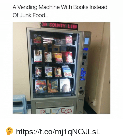 Books, Food, and Memes: A Vending Machine With Books Instead  Of Junk Food  RED 🤔 https://t.co/mj1qNOJLsL