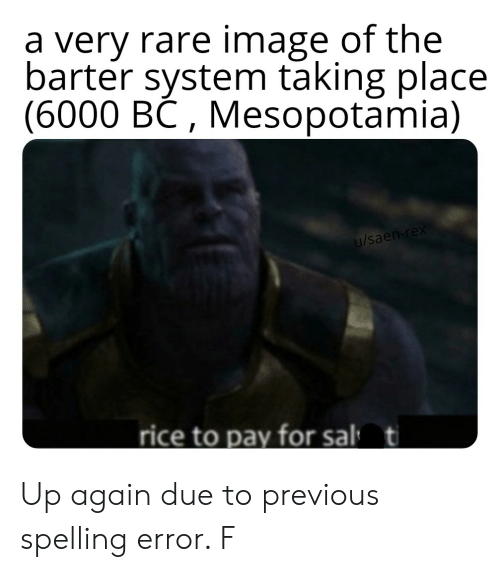 Reddit, Image, and Mesopotamia: a very rare image of the  barter system taking place  (6000 BC, Mesopotamia)  /sae  rice to pay for sal  t Up again due to previous spelling error. F