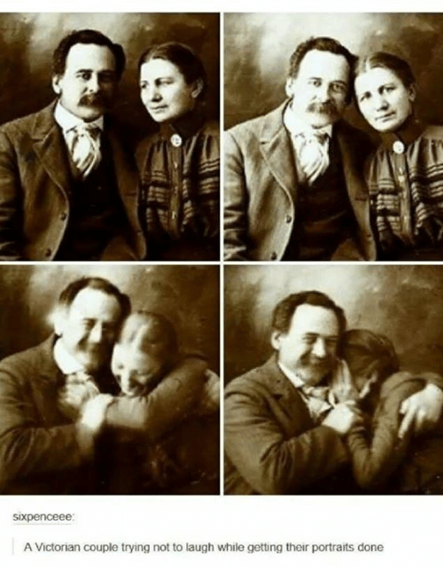 Victorian, Couple, and Done: A Victorian couple trying not to laugh while getting their portraits done