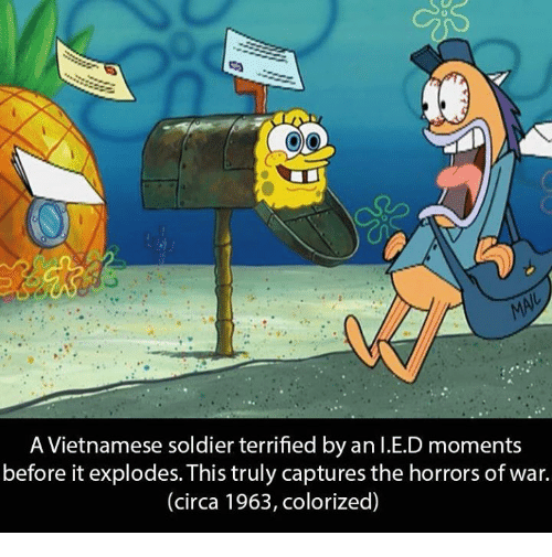 Soldiers, Dank Memes, and Vietnamese: A Vietnamese soldier terrified by an I.E.D moments  before it explodes. This truly captures the horrors of war.  (circa 1963, colorized)