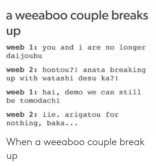 Break, Break Up, and Can: a weeaboo couple breaks  up  weeb 1: you and i are no longer  daijoubu  weeb 2: hontou?! anata breaking  up with watashi desu ka?!  weeb 1: hai, demo we can still  be tomodachi  weeb 2: iie. arigatou for  nothing, baka. . . When a weeaboo couple break up
