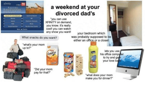 """Love, Computer, and Cool: a weekend at your  divorced dad's  """"you can use  XFINITY on demand,  you know. it's really  cool! you can watch  any show you want!  your bedroom which  was probably supposed to be  either an office or a closet  What snacks do you want?  what's your mom  up to?""""  lets you use  his office computer  to try and gah  en  your love  3-IN-  """"Did your mom  pay for that?  ASwhat does your mom  make you for dinner?"""""""