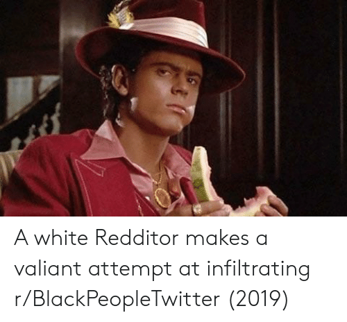 Blackpeopletwitter, White, and Valiant: A white Redditor makes a valiant attempt at infiltrating r/BlackPeopleTwitter (2019)