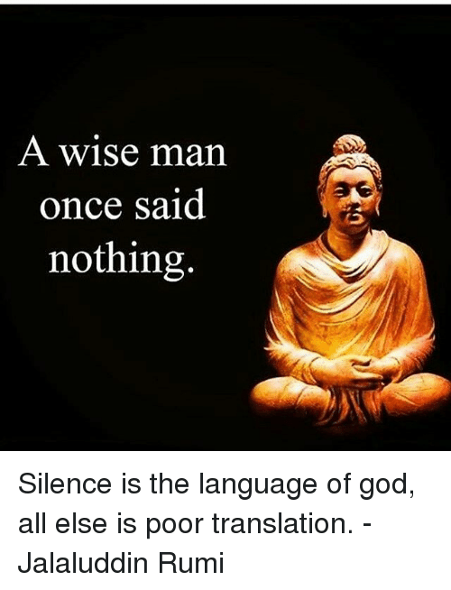 A Wise Man Once Said Nothing Silence Is The Language Of God All Else
