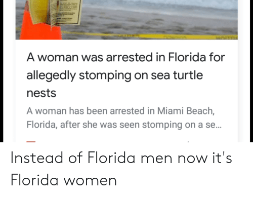 Beach, Florida, and Turtle: A woman was arrested in Florida for  allegedly stomping on sea turtle  nests  A woman has been arrested in Miami Beach,  Florida, after she was seen stomping on a se... Instead of Florida men now it's Florida women