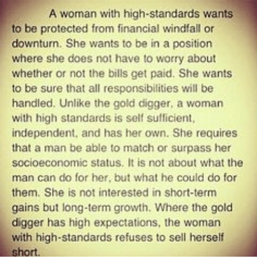 High standards with women Asian woman