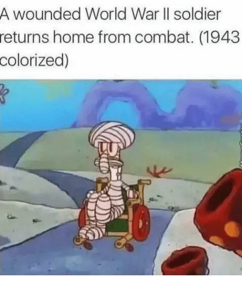Soldiers, Home, and World: A wounded World War II soldier  returns home from combat. (1943  colorized)