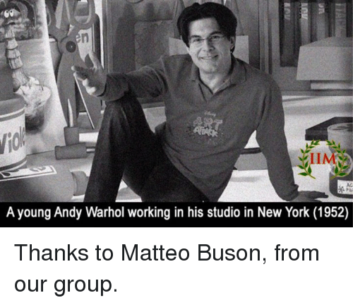 Memes, New York, and Work: A young Andy Warhol working in his studio in New York (1952) Thanks to Matteo Buson, from our group.