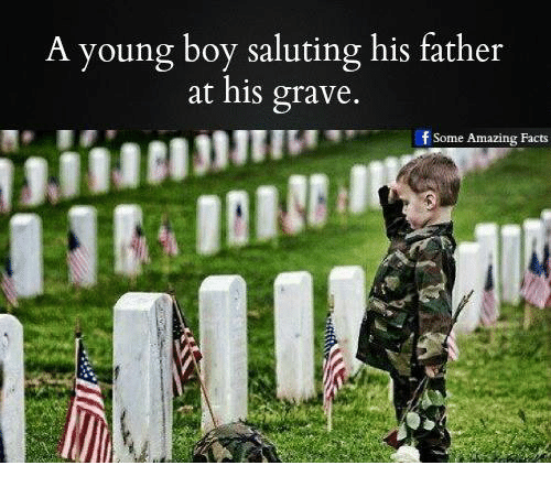 Memes, 🤖, and Graves: A young boy saluting his father  at his grave.  f Some Amazing Facts