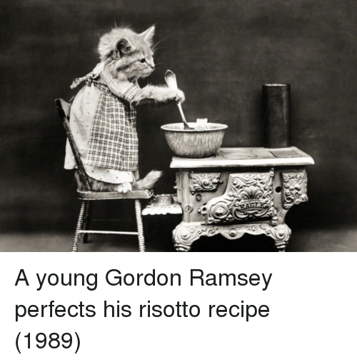 Risotto, Gordon Ramsey, and Ramsey: A young Gordon Ramsey perfects his risotto recipe (1989)