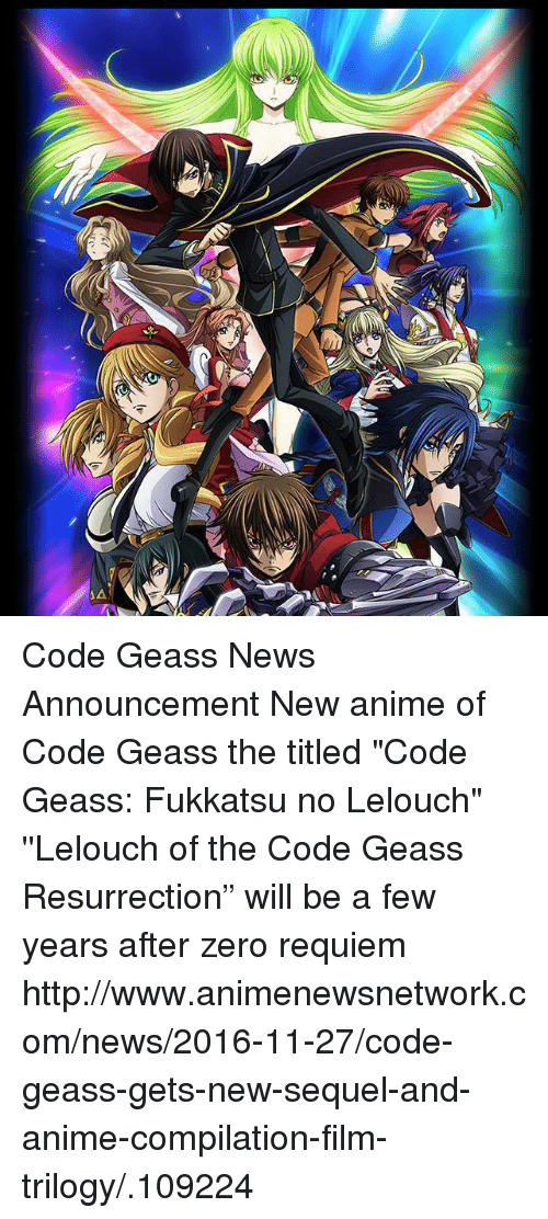 AA Code Geass News Announcement New Anime of Code Geass the Titled