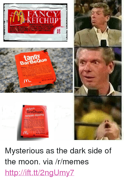 """Dark Side of the Moon, Memes, and Fancy: AA FANCY  KETCHup  tangy  BarBeQue  M.  AAN  SzeChuan  teriyaki dipping  m. <p>Mysterious as the dark side of the moon. via /r/memes <a href=""""http://ift.tt/2ngUmy7"""">http://ift.tt/2ngUmy7</a></p>"""